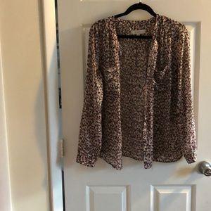 Loft pink print button down shirt